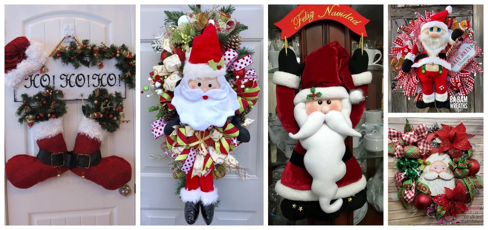 Adornos De Santa Claus En Fieltro Para Colgar En La Puerta Lodijoella