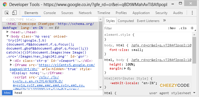 elements tab of developer tools chrome