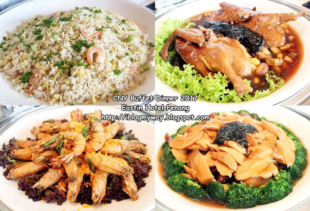 Golden Fried Rice,  8 Treasure Duck, Salted Egg Prawn & Sea Moss Bamboo