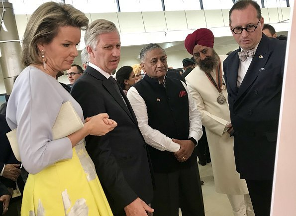 Queen Mathilde wore Natan new collection floral skirt, Natan top, and natan pumps at Indian university's lunch