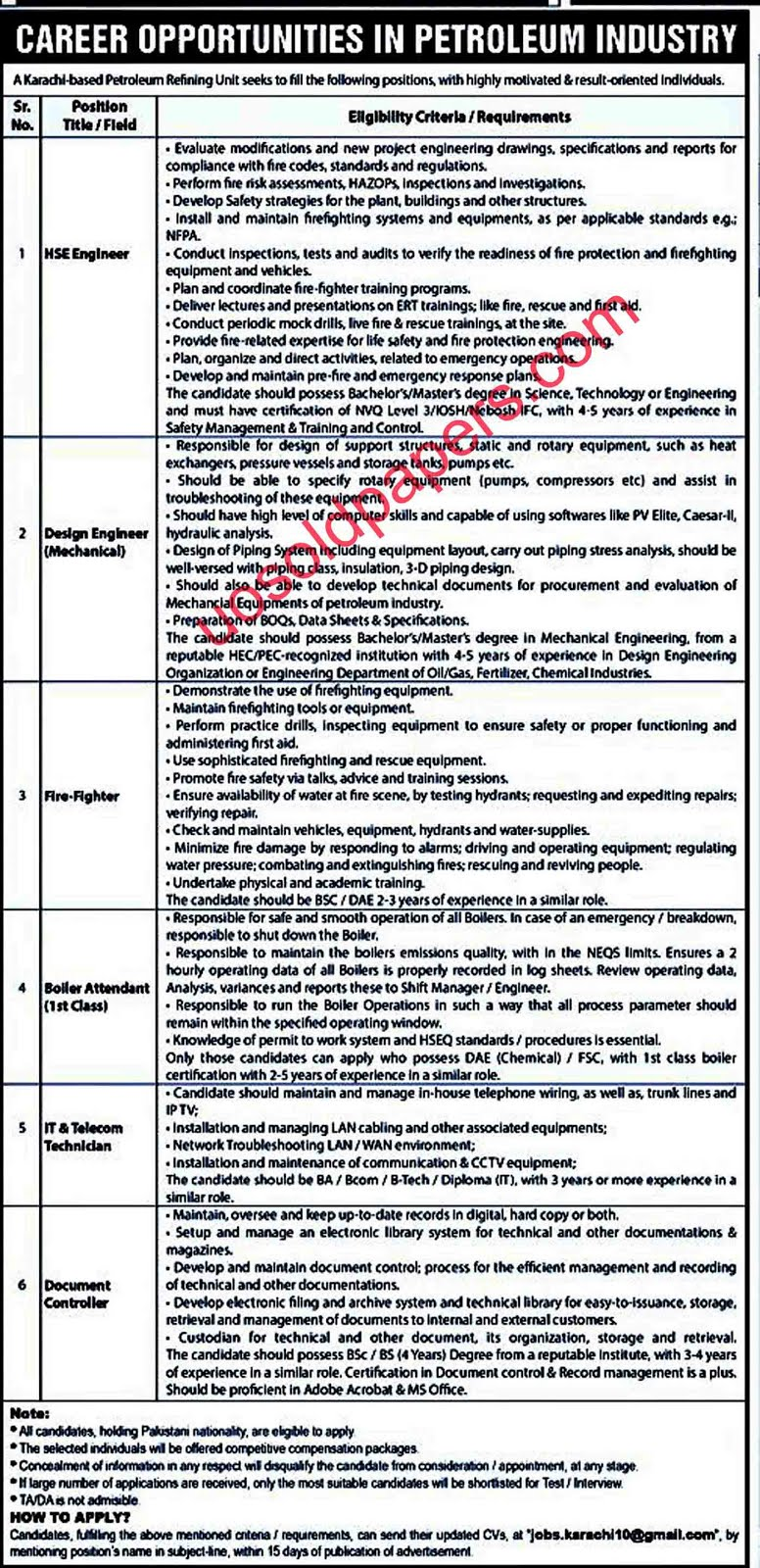Career Opportunities in Petroleum Industry on 11 August 2019 in Karachi, Pakistan Date Posted: 11 August, 2019   Last Date: (with in Fifteen days of Publication)   Newspaper: Jang Jobs