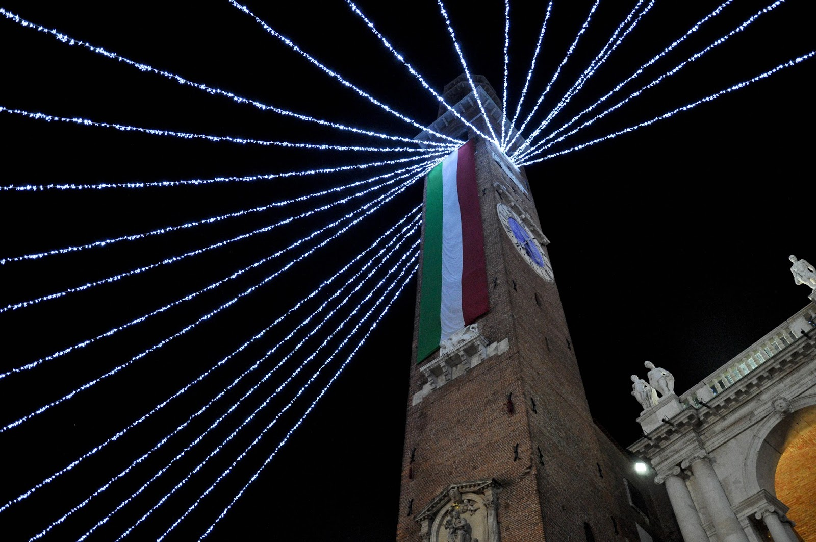 The Christmas decorations at Piazza dei Signori, Vicenza, Veneto, Italy