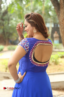 Actress Ashwini Stills in Blue Chudidar at Ameerpet Lo Release Press Meet  0014.JPG