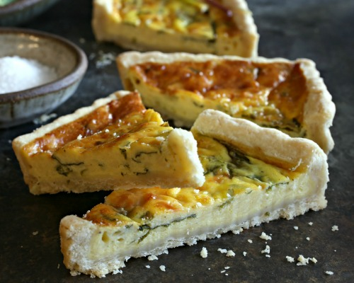Savory tart with Gruyere cheese and spring ramps.