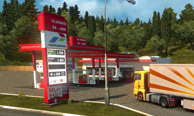 Mod SPBU Pertamina Indonesia ETS2 - masuk pom bensin