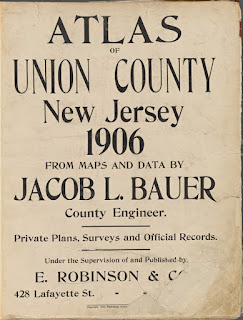 "Cover of ""Atlas, Union County, New Jersy, 1906"" Jabob L. Bauer. From the NY Public Library Image Collection"