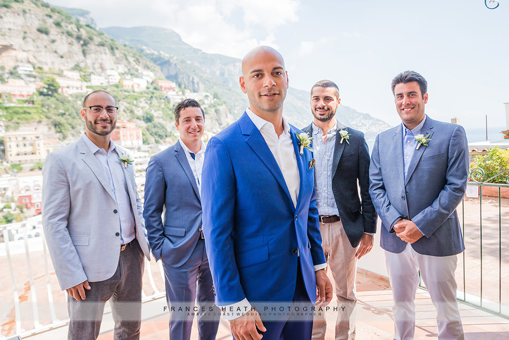 Groom with his groomsmen at hotel Poseidon