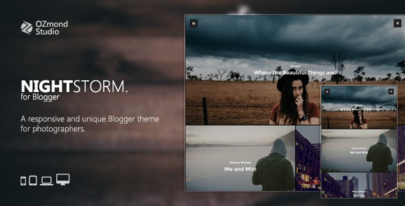NightStorm is a creative and responsive blogger theme made for a photo blog. It's heavily optimized to be one of the fastest theme ever, making it suitable for any devices, like smartphone, tablet, laptop or desktop