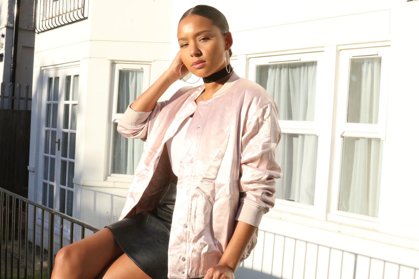 streetstyle, H&M, pink, pink bomber, nike, nikeflyknits, fashion, london, leather, fauxleather, ootd, style, choker,