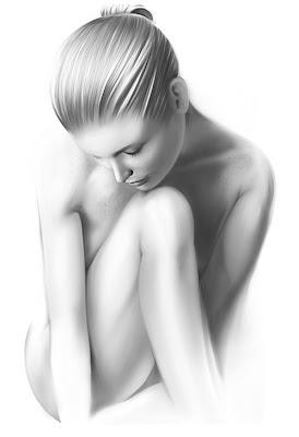 Ilustración con vectores dibujo de mujer blanco y negro