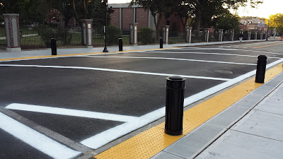the raised crosswalk at Dean College on the newly paved Main St