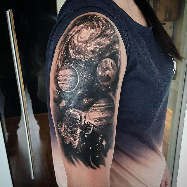 girly sleeve astronaut tattoo ideas