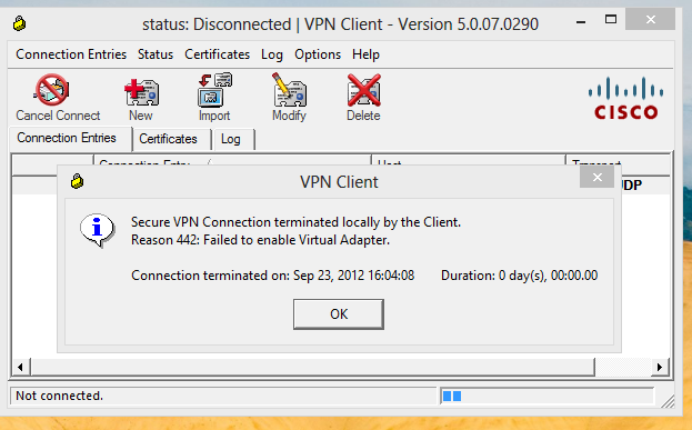 RB's Tech Blog :: : Cisco VPN client failed to enable