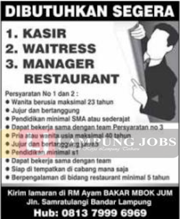 Lowongan Kerja Lampung Juni 2018 di RM. Ayam Bakar Mbok Jum Terbaru Bandar Lampung