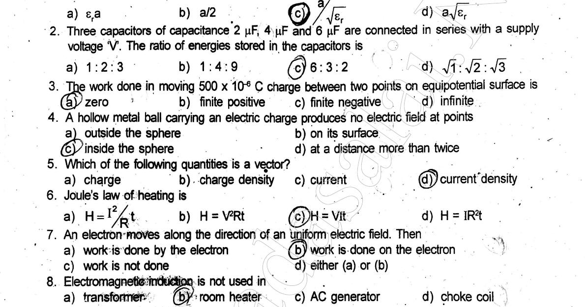 12th Physics - Half Yearly Exam Answer Key - English Medium