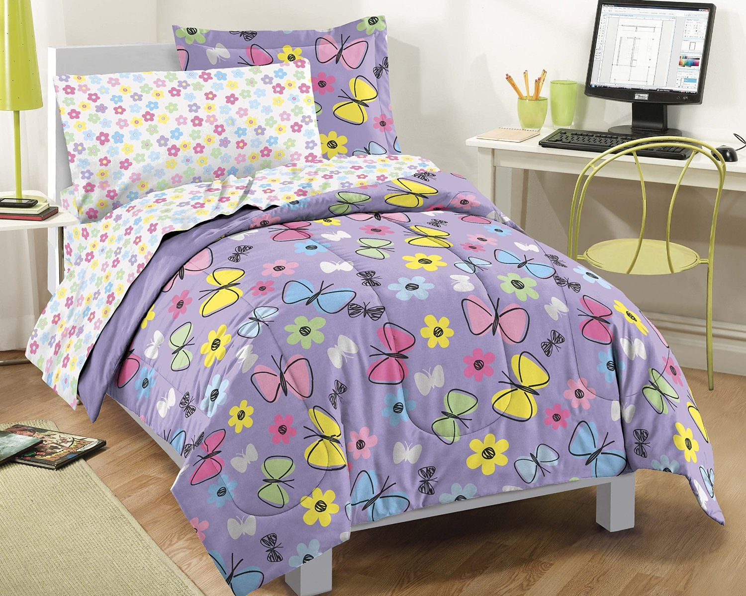 Purple and Pink Butterfly Comforters and Bedding Sets