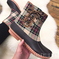 monogram plaid duck boots