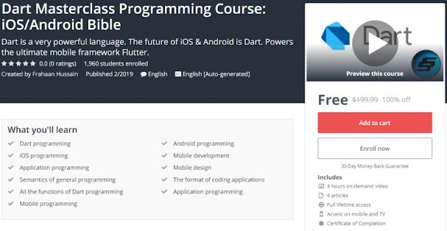 [100% Off] Dart Masterclass Programming Course: iOS/Android Bible| Worth 199,99$
