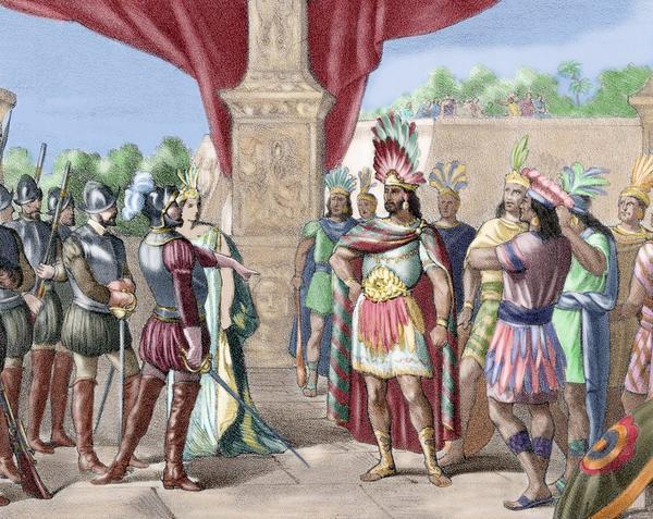 Hernan Cortes takes prisoner Moctezuma II