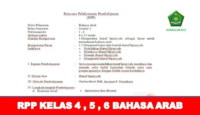 RPP Bahasa ARAB SD/MI Kelas 4 , 5 , 6 Lengkap