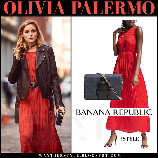 Olivia Palermo in red maxi dress and black leather moto jacket Banana Republic what she wore 2017