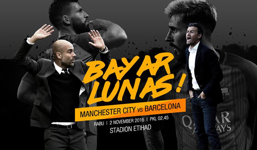Prediksi Skor Manchester City vs Barcelona 2 November 2016