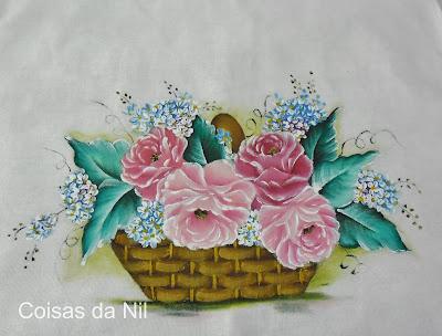 pintura em tecido cesta de rosas
