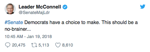 This Mitch McConnell Tweet Sums Up Democrats' Shutdown Choices Perfectly
