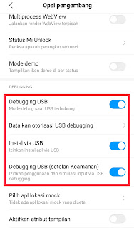 Debugging USB di Android Xiaomi