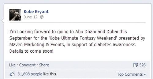 Kobe Bryant will be in Abu Dhabi and Dubai for Health and Fitness Weekend