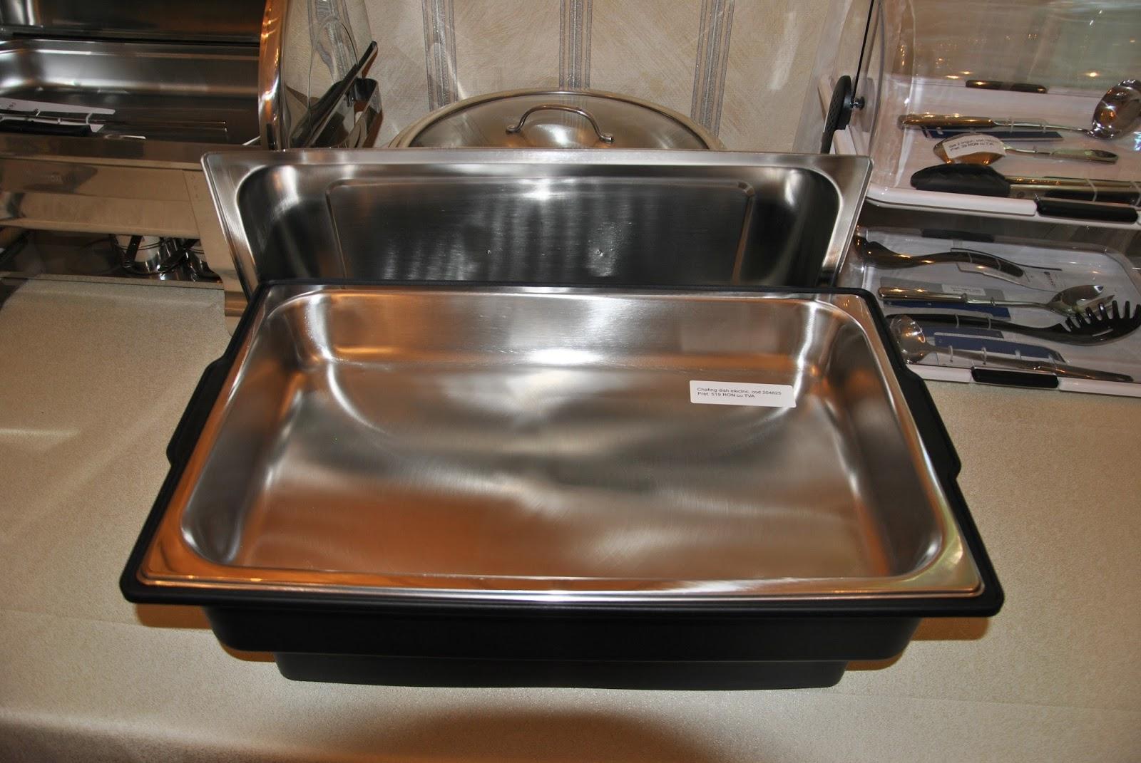 Chafing Dish Electric Dreptunghiular, GN 1/1, Pret Vase Incalzitoare Mancare, Profesionale Horeca, Echipamente Bufet, Masa