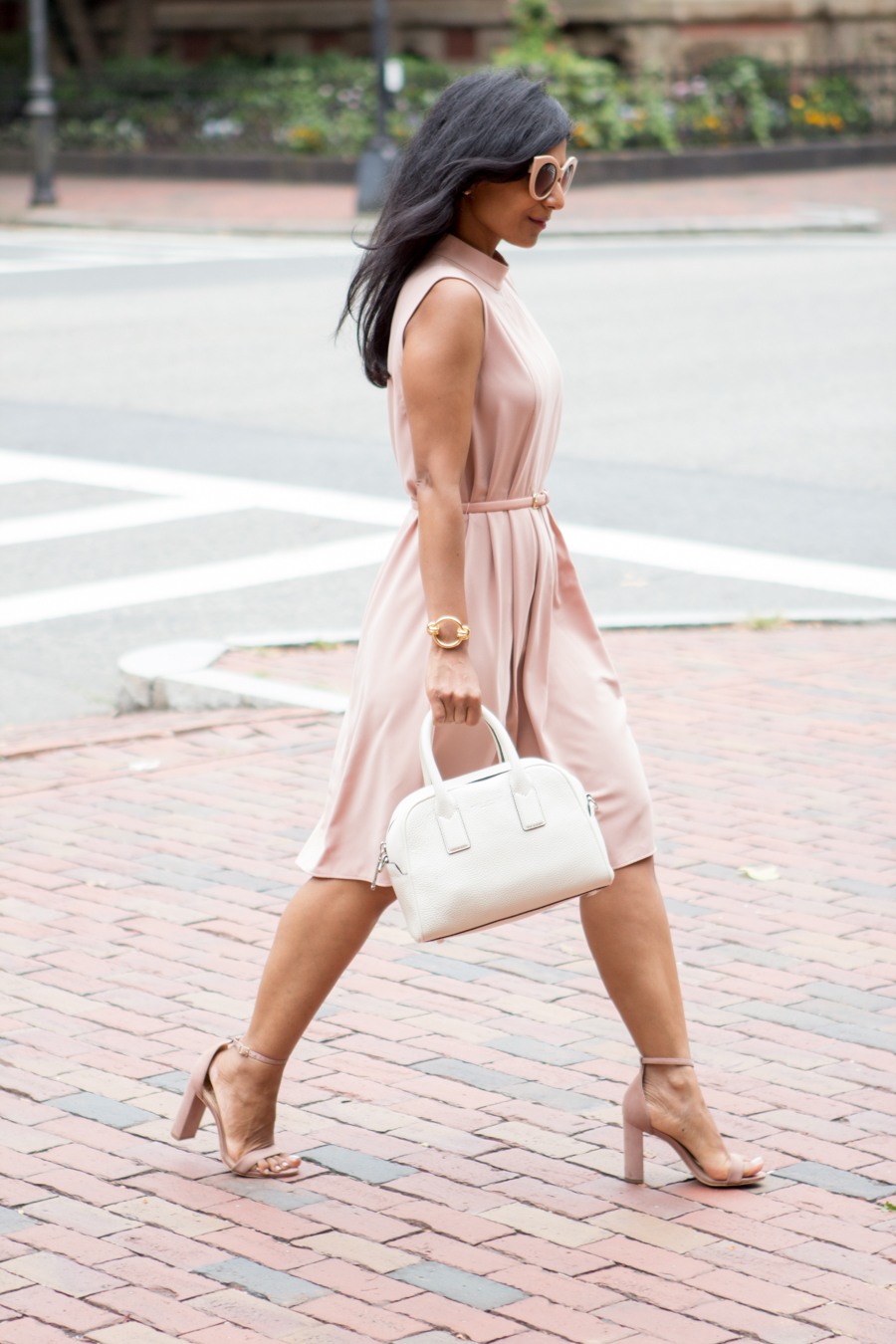 blazer, navy, blush, work dress, peach, nude, office style, corporate chic, nude sandals, taupe, vince camuto, banana republic, uniqlo, petite fashion, summer style