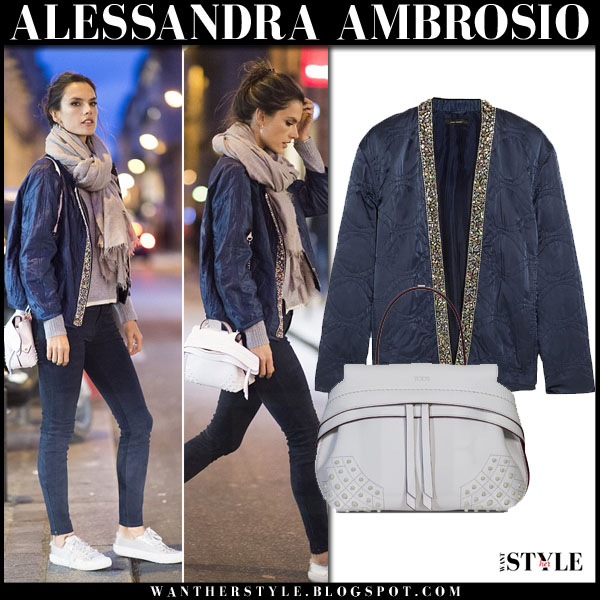 Alessandra Ambrosio in blue bomber isabel marant jasia jacket, suede j brand pants with white tods wave bag what she wore model style