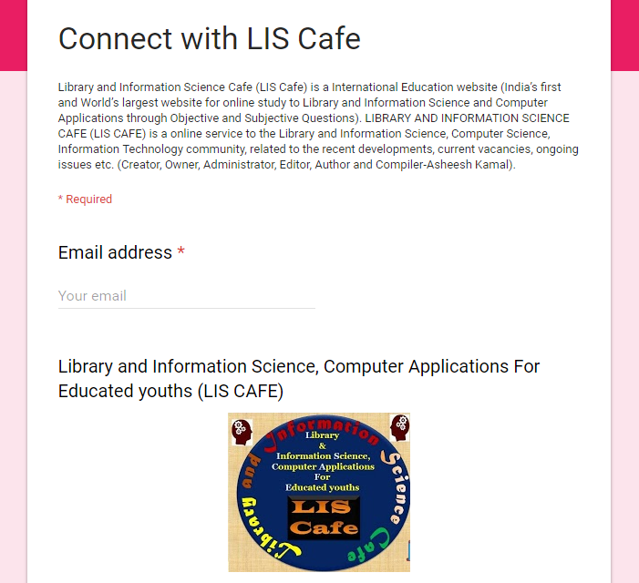 If you want to connect with Library and Information Science Cafe-LIS Cafe Please Click here