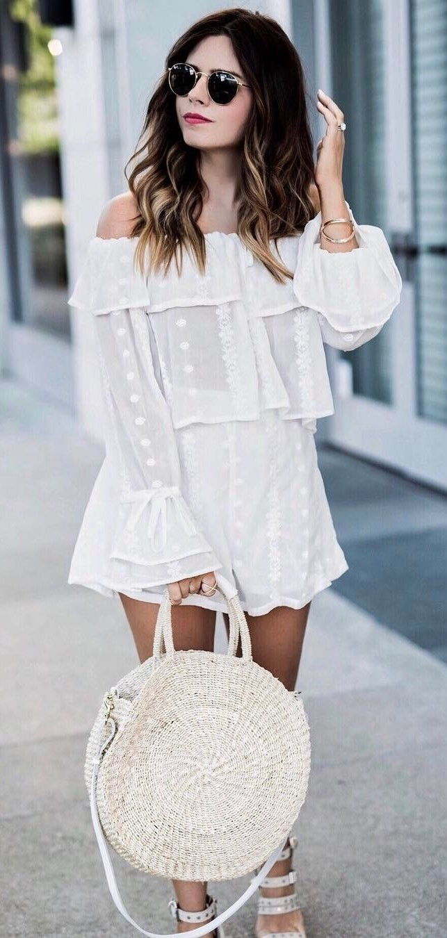 white outfit: dress + bag