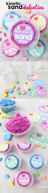 Kinetic Sand Valentines, non-candy valentines, kids valentines, DIY valentines