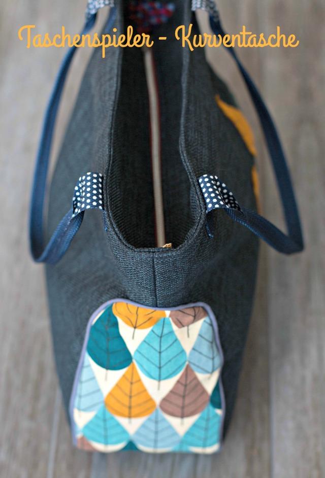blauer Möbelstoff kombiniert mit Blätter Stoff amerikanisch - Kurventasche Farbenmix Taschenspieler 3 Frühstück bei emma