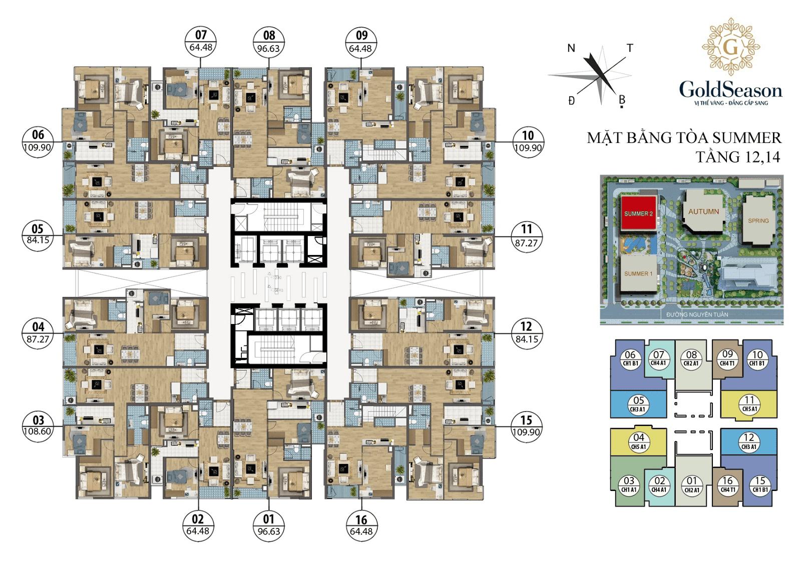 Mặt bằng điển hình tầng chẵn tòa Summer 2 - GoldSeason