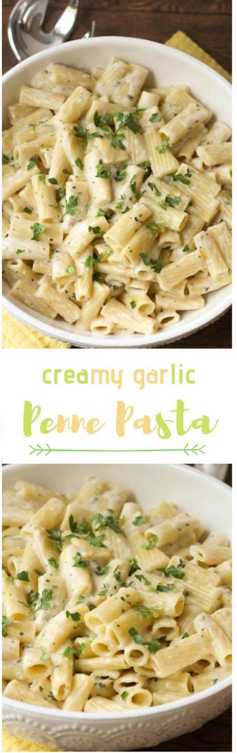 GARLIC PENNE PASTA #food#garlic