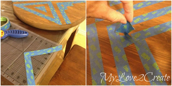 using painter's tape to create a pattern on shelves and table top