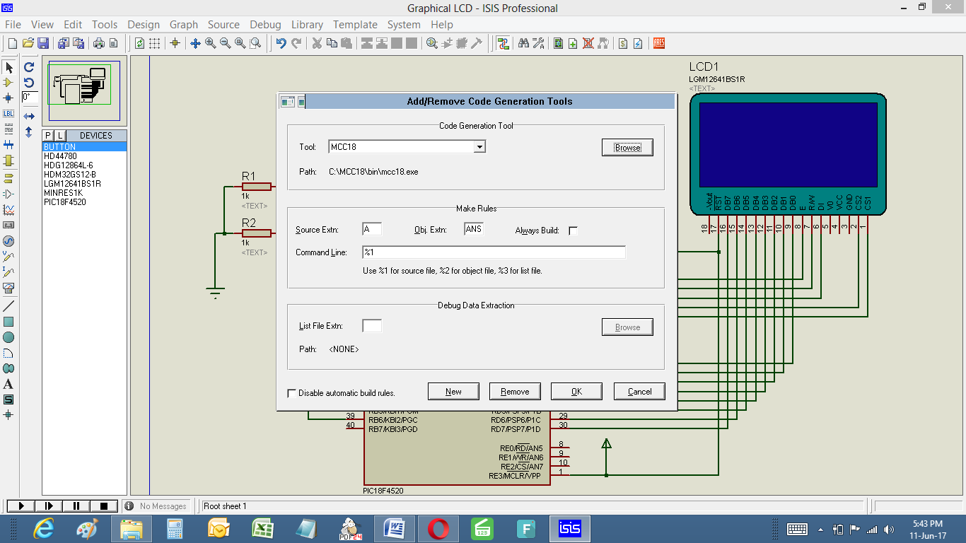 Simulate C Codes With Circuit In Proteus Debug Your Complete Simulation At I Am Using Pic Microcontroller So Added My Compiler Mcc18 Click On New Button To Add Manually The Second You Would Be Make