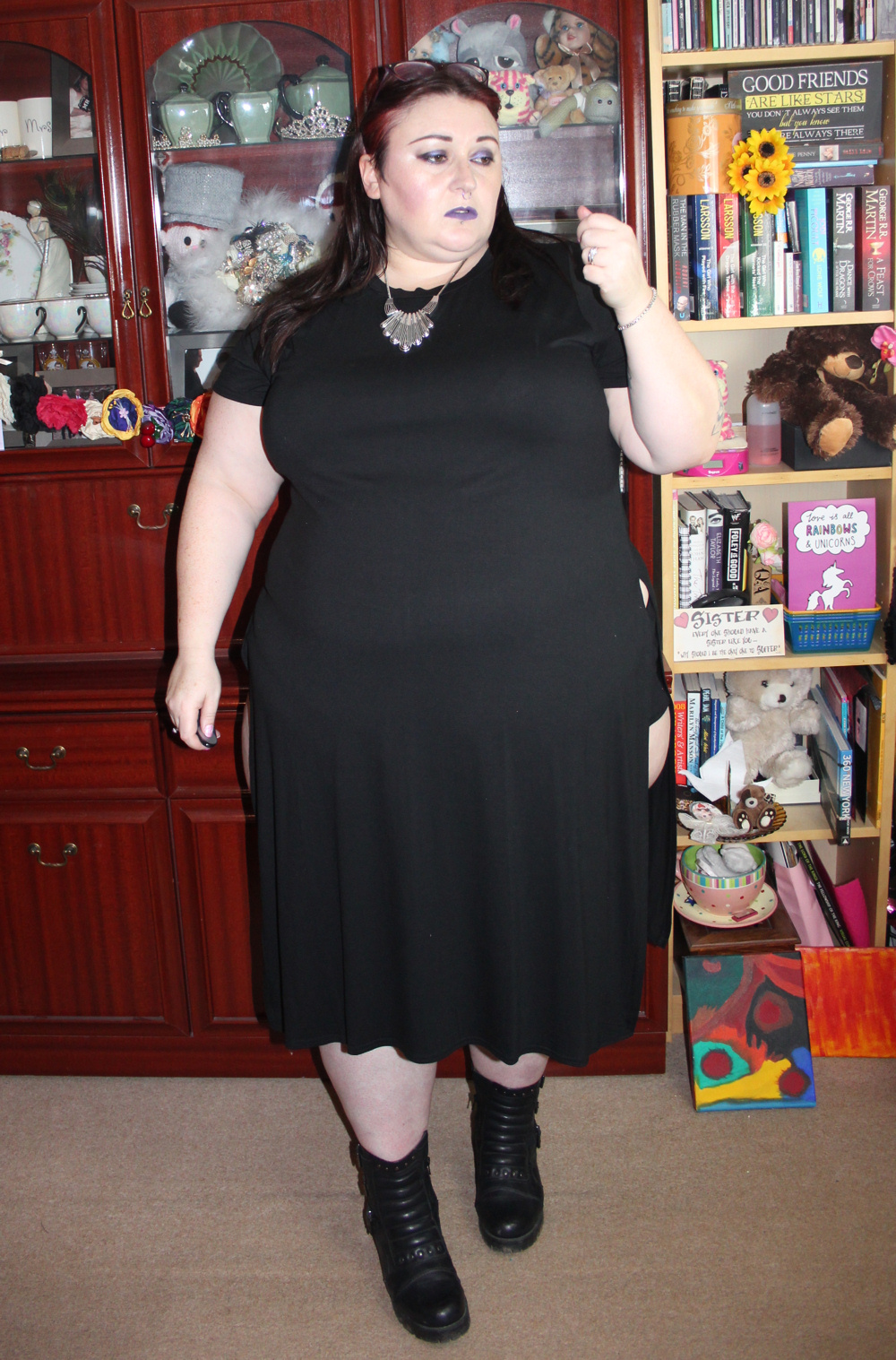 Yours Clothing Black Short Sleeve Plus Size Maxi Top With Large Side Splits 4