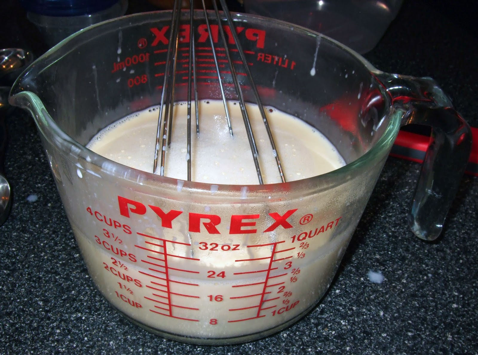 Tempered egg yolk mixture.