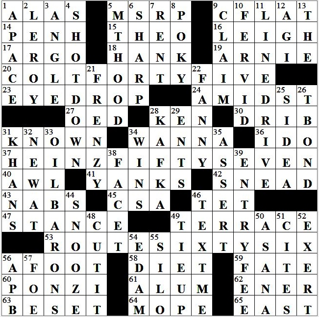 L A Times Crossword Corner Monday December 28 2015