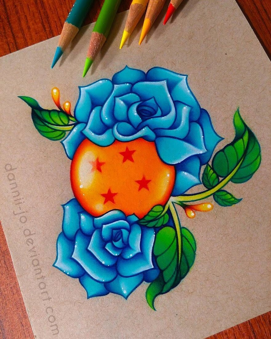 01-Dragonball-Roses-Danielle-Washington-Brightly-Colored-Pencil-Drawings-www-designstack-co