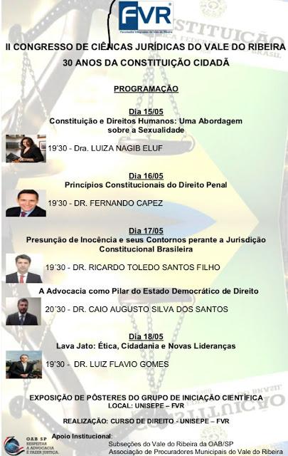 COMEÇA AMANHÃ (15/05) O MAIOR EVENTO JURÍDICO DO VALE DO RIBEIRA