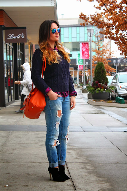 Suede booties, suede ankle boots, black ankle boots, ripped jeans, zara jeans, gap sweater, navy sweather, tartan shirt, layering look, walmart shirt, walmart plaid shirt, orange shoulder bag, fashion look, street style, toronto street style