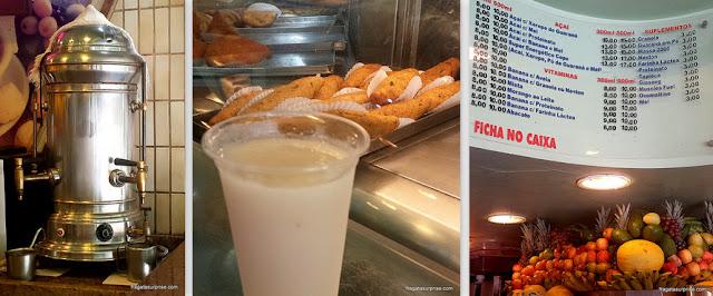 Café de máquina, bolinhos de bacalhau e casas de suco em Copacabana