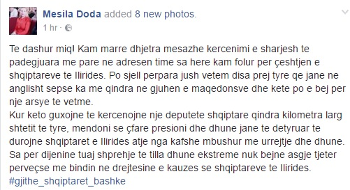 Albanian MD Mesila Doda gets hundred life threatening messages by Macedonians
