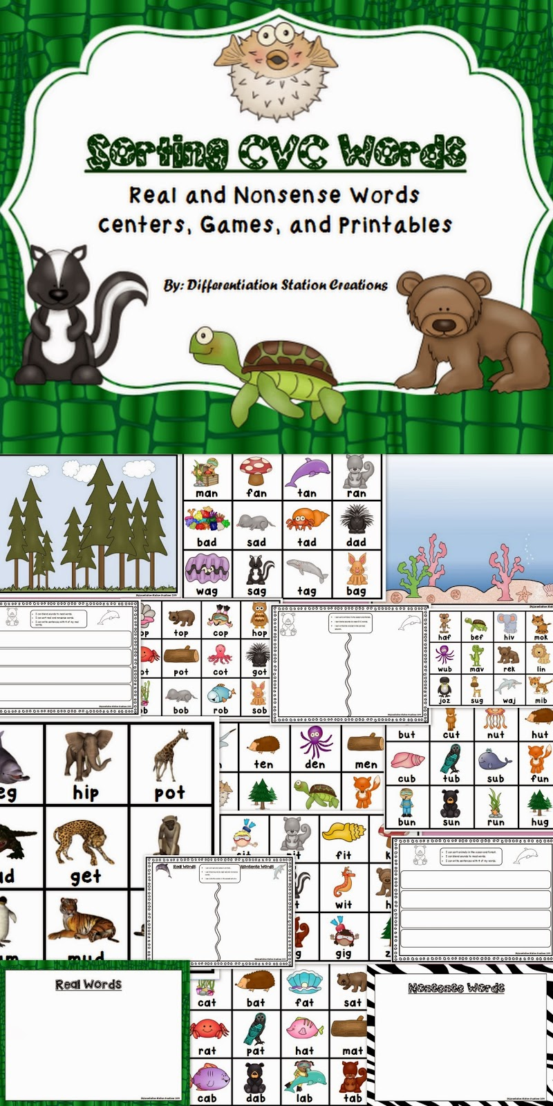 http://www.teacherspayteachers.com/Product/Sorting-Real-and-Nonsense-CVC-Words-Centers-Games-and-Printables-1042919